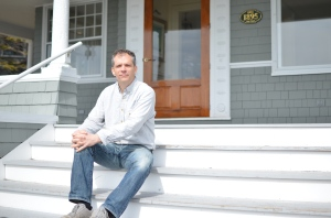 Chef Pierre takes a break on the sweeping front steps of the Cape Arundel Inn, Kennebunkport