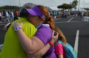 A well-earned hug from my dad and honored LLS/TNT patient