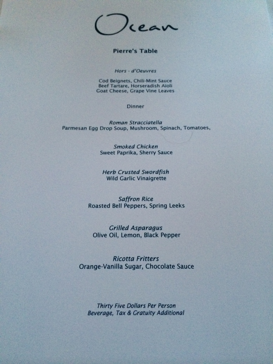 Ocean's Menu for the Chef's Table dinner.